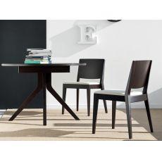 725 | Tavolo in legno con piano ovale in vetro 110x100 cm, allungabile