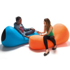 I-BONE | Pouf di design con rivestimento in microfibra, diversi colori, sfoderabile