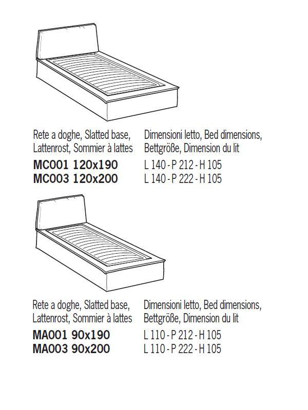 Ancona cama de matrimonio acolchada distintas tapicer as for Medidas de cama individual