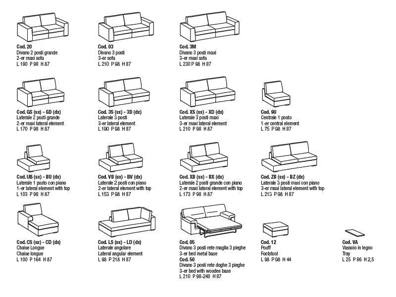 Nettuno extra divano lineare moderno a 5 posti con for Divano 5 posti lineare dimensioni