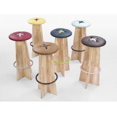 Bottone Alto | Sgabello alto in legno con seduta imbottita, diversi colori disponibili