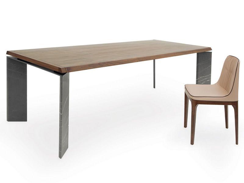 8068F Roma: Tavolo design Tonin, gambe in marmo e piano in legno, 200x110 cm fisso - Sediarreda