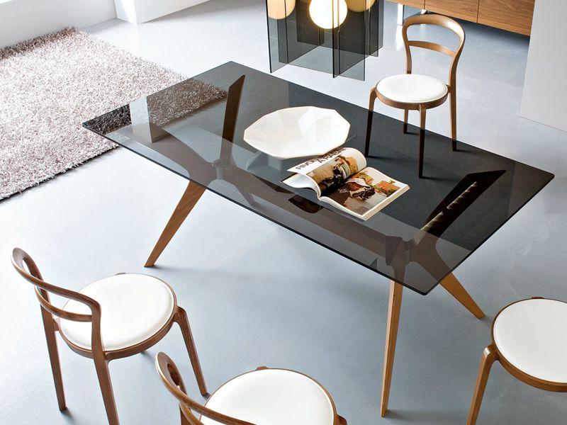 Cs18 rc 180 tokyo tavolo calligaris in legno piano in vetro 180x90 cm fisso sediarreda - Tavolo calligaris in vetro ...