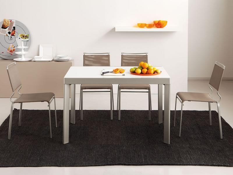 731 tavolo in metallo con piano in legno 80x120 cm for Sedie struttura acciaio satinato
