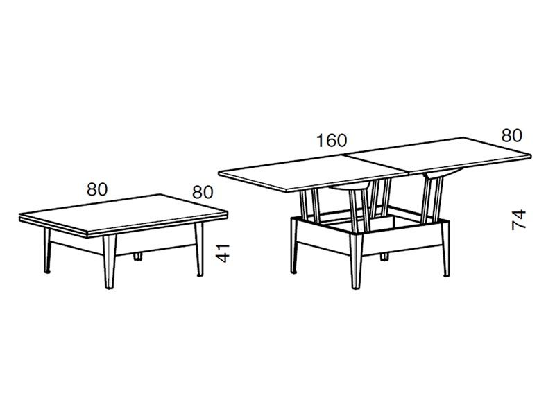 Ulisse tavolino trasformabile in tavolo da pranzo 80 - Misure tavolo pranzo ...