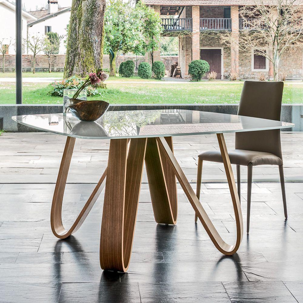 8070 butterfly tavolo design tonin base in legno piano for Tavolo legno base vetro