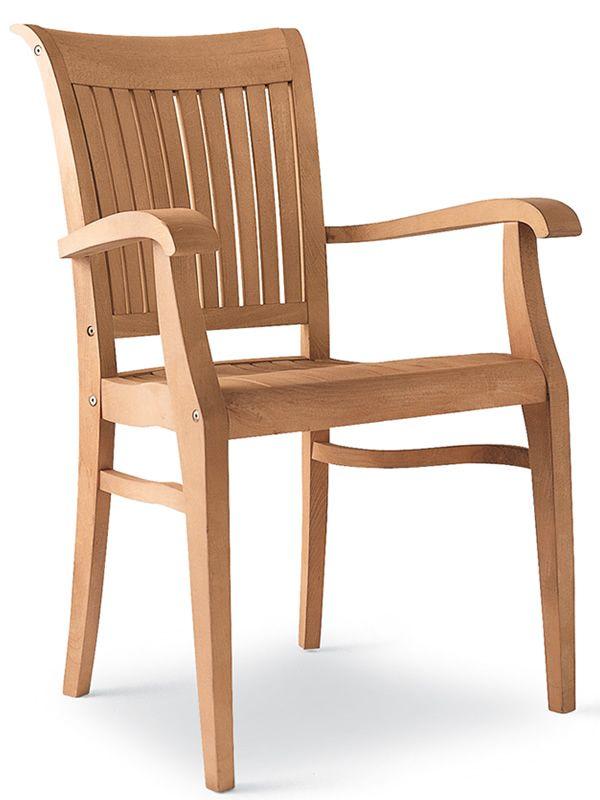 Newport B: Sedia con braccioli, in legno di robinia, per giardino - Sediarreda