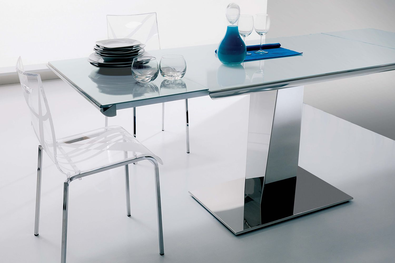 Matrix table moderne en m tal plateau en verre 120x74 cm - Table moderne en verre ...