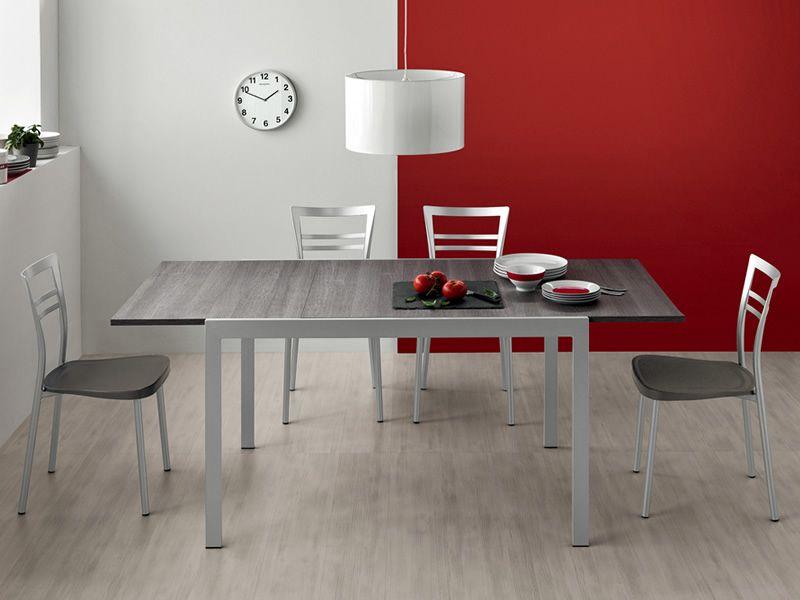 742 2 tavolo in metallo con piano in legno 70x110 cm for Tavolo calligaris 70x110
