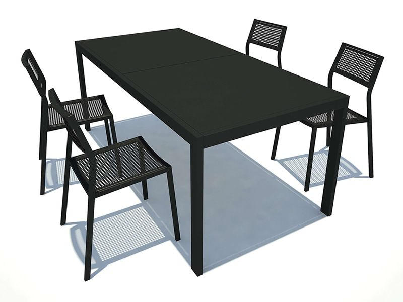 table de jardin metal avec rallonge des. Black Bedroom Furniture Sets. Home Design Ideas