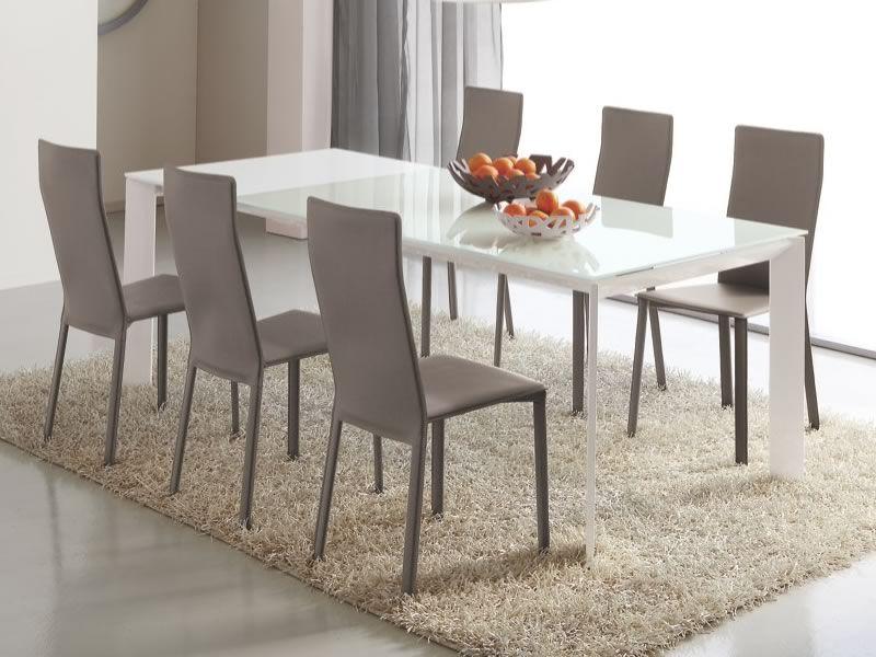 751 tavolo in metallo con piano in vetro 90x160 cm for Tavolo allungabile vetro bianco