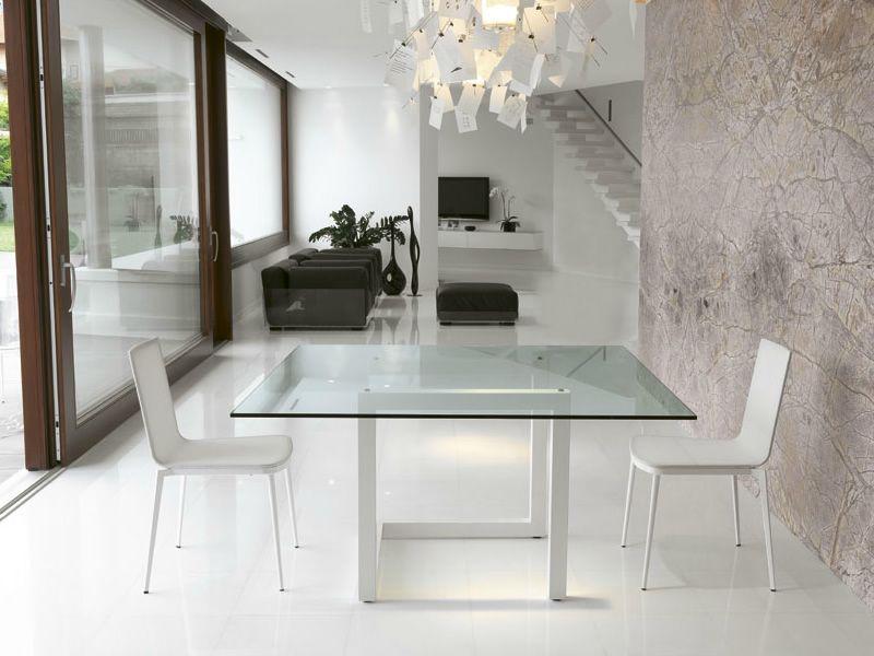 Teorico table colico design en acier et verre 140x140 cm for Table 140x140 design