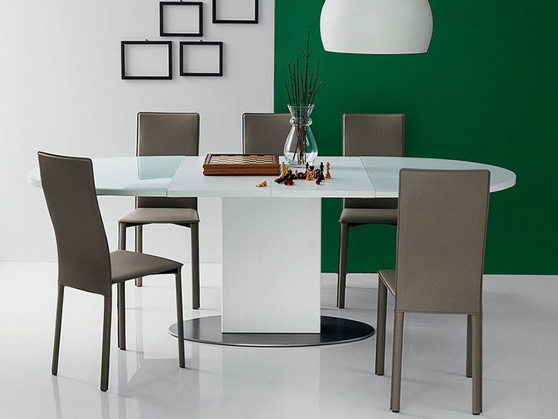 701 tavolo in metallo con piano ovale in vetro 140x100 cm for Tavolo ovale in vetro allungabile