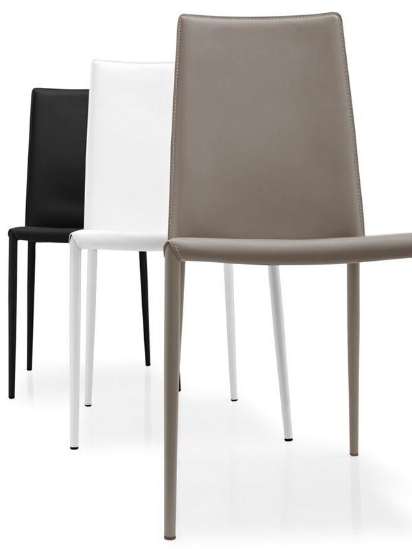 Cs1257 boheme sedia calligaris in metallo e cuoio for Sedie design tortora