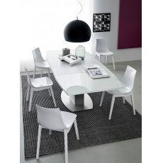726 | Tavolo in metallo con piano in vetro 140x100 cm, allungabile