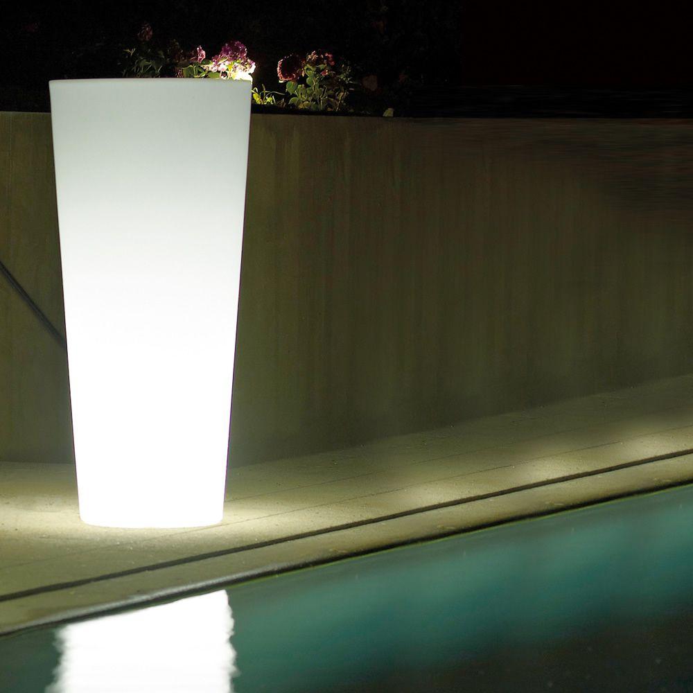 Ortensia light fioriera rotonda per esterno con luce - Luce per giardino ...