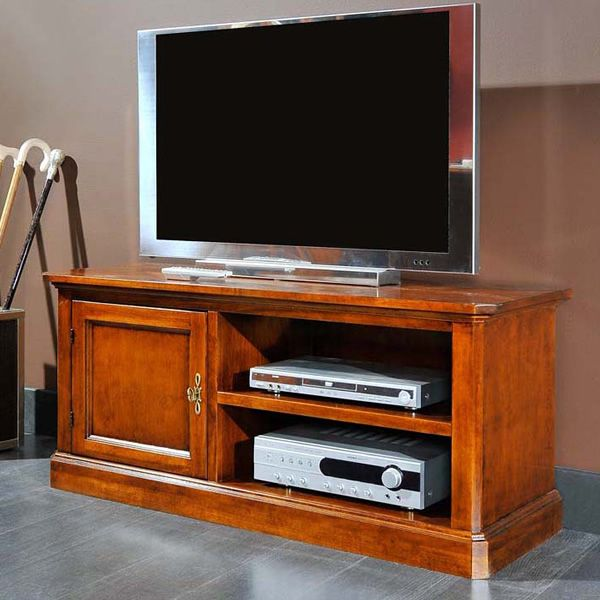 tiche meuble tv classique en bois 126x46 cm h 58 cm. Black Bedroom Furniture Sets. Home Design Ideas