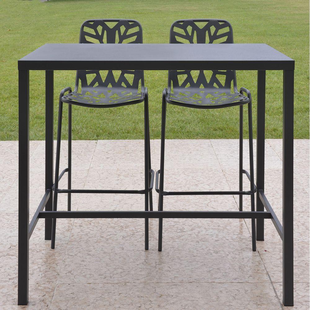 RIG72TH  Tavolo alto con sgabelli in acciaio antracite