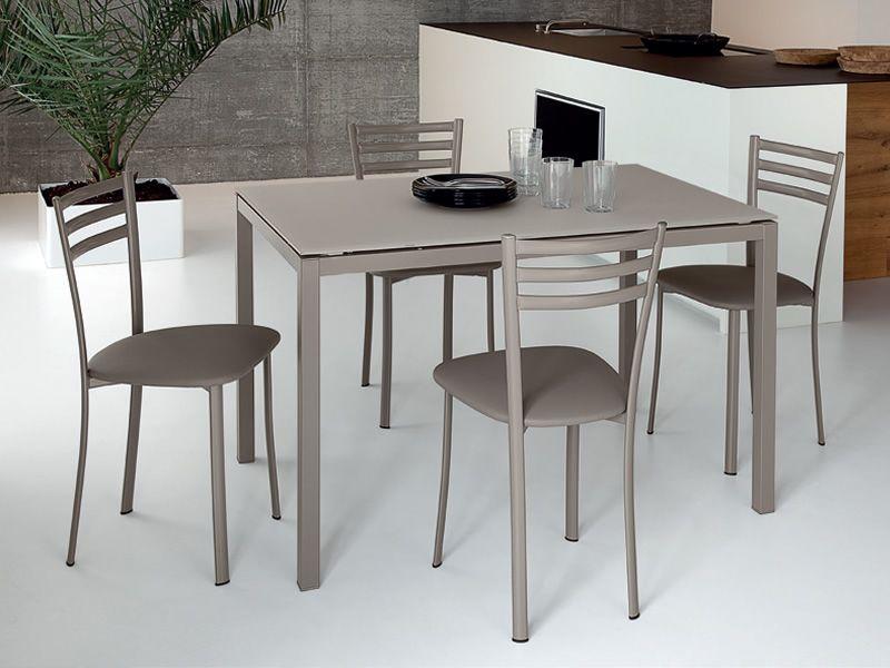 Full tavolo domitalia in metallo piano vetro o melaminico 120x80 cm allungabile sediarreda - Tavolo vetro temperato opinioni ...