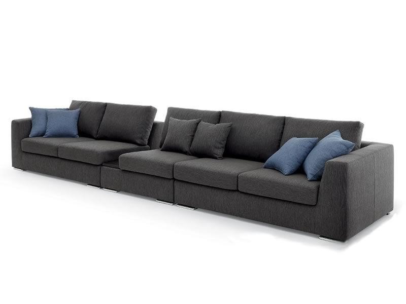 Nettuno extra divano lineare moderno a 5 posti con for Divano 5 posti lineare