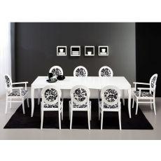 750 | Tavolo in legno, piano rettangolare 90x160 cm, allungabile
