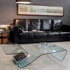 6223 Alaric | Tavolino da salotto Tonin Casa, in vetro trasparente, 142x70 cm