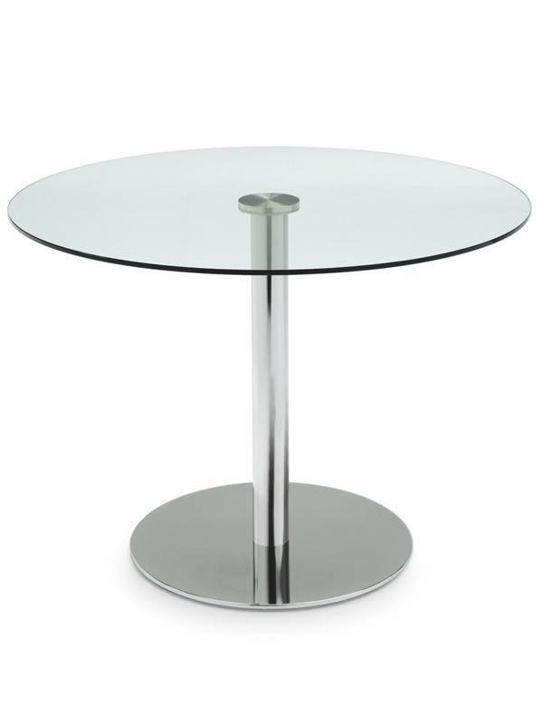 719 tavolo tondo in metallo con piano in vetro di diametro 105 cm sediarreda - Tavolo vetro temperato opinioni ...