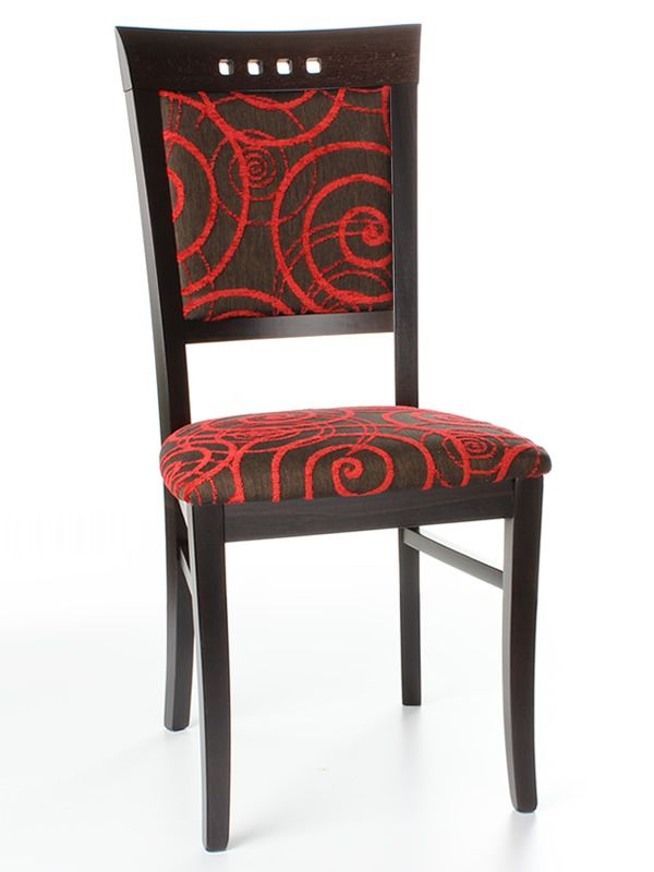 Silla moderna de madera asiento y respaldo acolchados y for Tapizados de sillas modernas