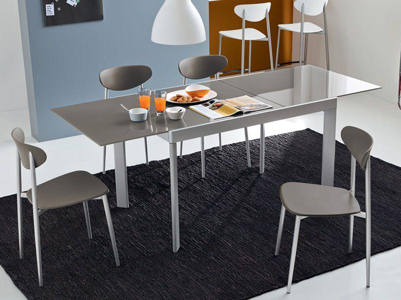 731 v tavolo in metallo con piano in vetro 80x120cm for Sedie struttura acciaio satinato