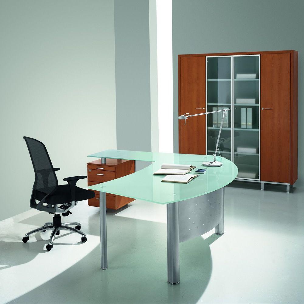 Office xt180g scrivania in vetro con penisola e for Scrivania vetro ufficio