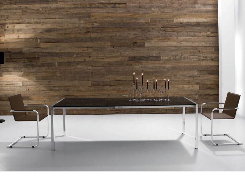 tisch aus aluminium platte aus glas oder holz. Black Bedroom Furniture Sets. Home Design Ideas