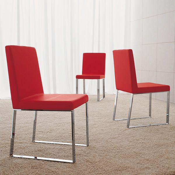 Md127 sedia in metallo seduta rivestita in pelle for Sedie imbottite moderne