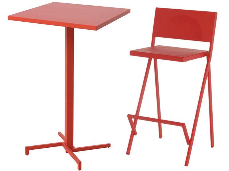 Mia h pour bars et restaurants table haute en m tal - Table haute avec tabouret ...