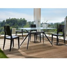 SC2406 METROPOLIS | Design table with metal structure and glass top 140X85 cm, also for outdoor