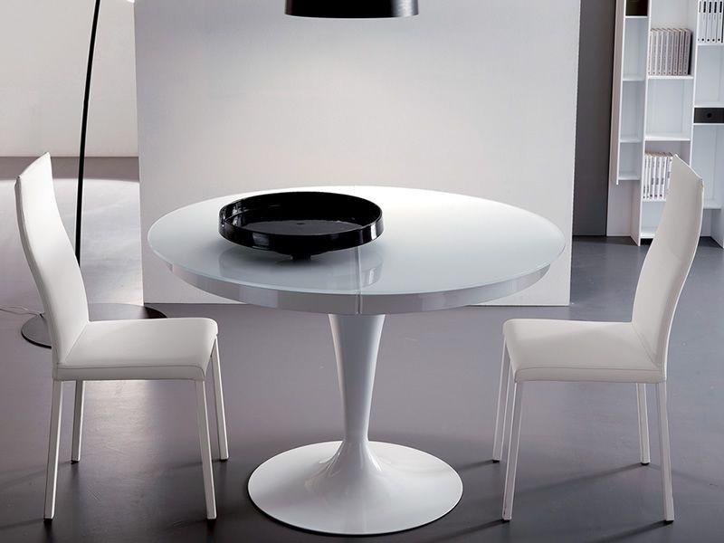 Mesa moderna de cristal extensible redonda eclipse by for Mesa redonda extensible moderna
