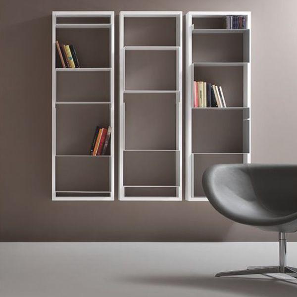 Libreria modulare a muro di tonon in diverse finiture for Libreria a muro bianca