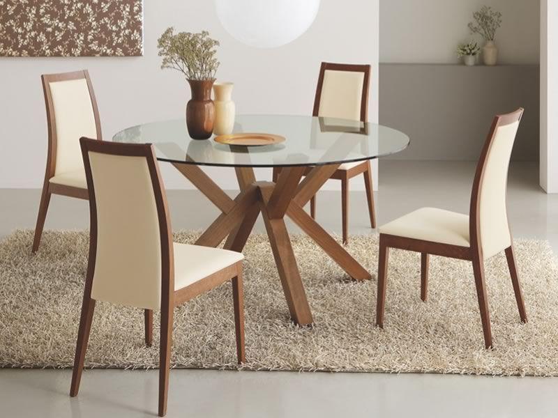 table ronde verre et bois conceptions de maison. Black Bedroom Furniture Sets. Home Design Ideas