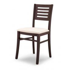 113 | Sedia in legno con seduta imbottita, rivestimento in tessuto