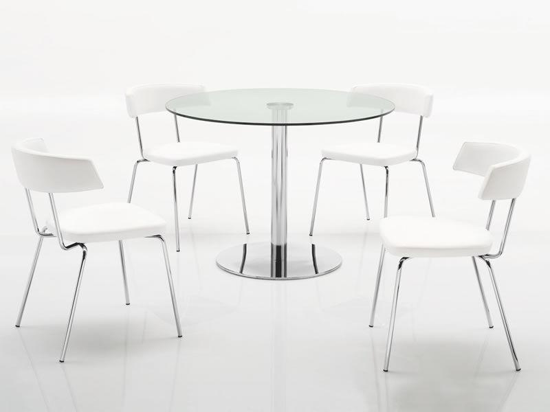 719: Tavolo tondo in metallo con piano in vetro di diametro 105 cm - Sediarreda
