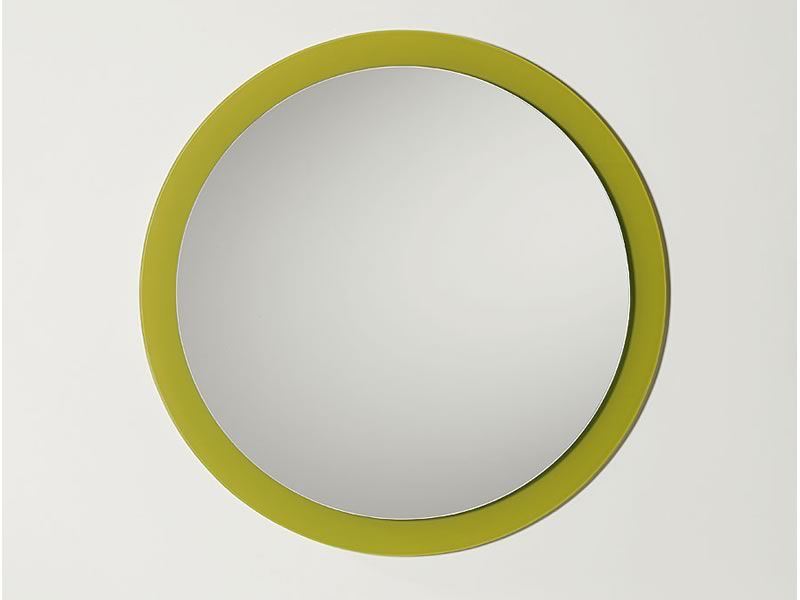 line miroir rond avec cadre en verre color diam tre 70 cm sediarreda. Black Bedroom Furniture Sets. Home Design Ideas