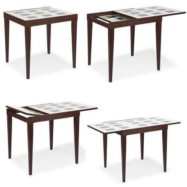 702 2h tavolo alto in legno con piano in vetro 90x90 cm - Meccanismo tavolo allungabile ...