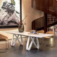 8070-V Butterfly | Tavolo design Tonin, base in legno, piano in vetro 160x90 cm, allungabile