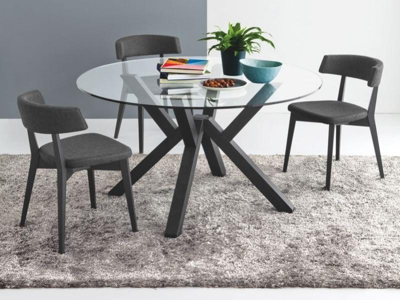 728: Tavolo in legno con piano tondo in vetro, diametro 120 o 140 cm - Sediarreda