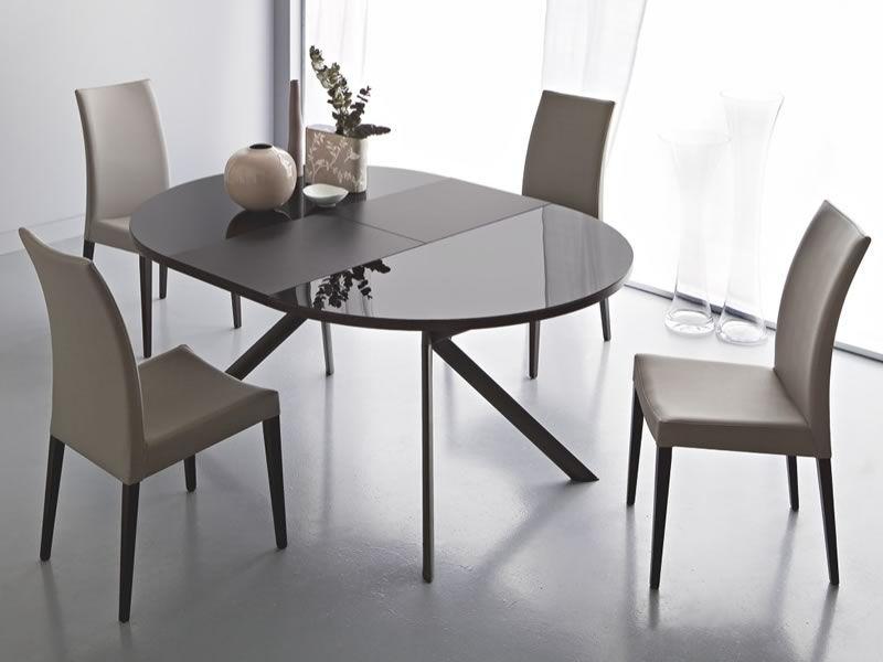 738 tavolo tondo in metallo piano in vetro diametro 120 cm allungabile sediarreda - Tavolo tondo in vetro ...