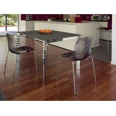 Universe-110 | Tavolo Domitalia in metallo, piano vetro o laminato, 110x70 cm, allungabile
