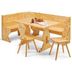AV GIROPANCA | Country style angular bench in pine wood, several sizes