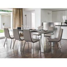 CS4082-MV Royal | Calligaris aluminium table, glass top, 180x100 cm, extendable