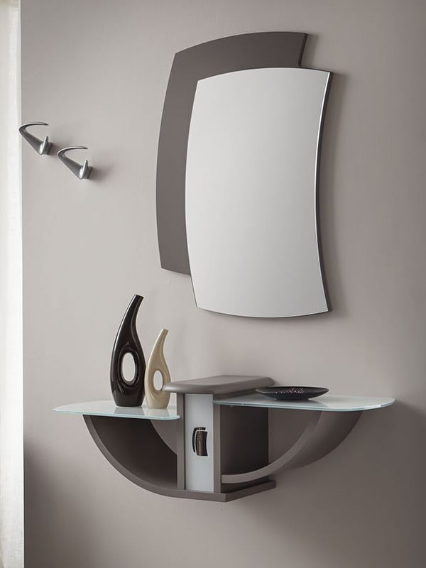 Mueble de entrada con espejo y percheros varios colores - Entradas con percheros ...
