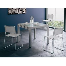 VR90 | Metal table 90x90, entensible, glass top