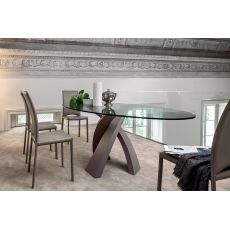 8028 Eliseo | Tavolo design Tonin, base metallo, piano in vetro tondo o ovale
